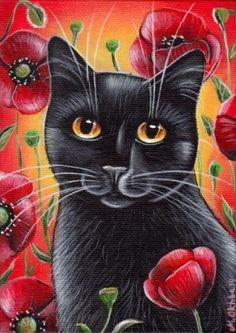 Black Cat & Poppies - Summer Painting