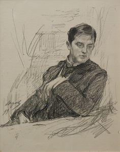 Portrait of Dmitry Filosofova by Valentin Serov, Fine Art Drawing, Life Drawing, Figure Drawing, Painting & Drawing, Portrait Sketches, Portrait Art, Art Sketches, Art Drawings, Sketch Inspiration