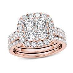 2 CT. T.W. Composite Diamond Cushion Frame Bridal Set in 14K Rose Gold
