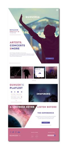 Guhuih16 Music Festival // Music Festival Website. Progetto di Donatella Allegretti. Area: Web Design  Categoria: Sito Vetrina  Corso: Web Design Pro Responsive  Docente di web design: Valerio Caruso #website #musicfestival #webdesign #ilas #ilascademy #ilasdesigner #ilasportfolio Festival, It Works, Web Design, Students, Inspiration, Musica, Biblical Inspiration, Nailed It, Website Designs