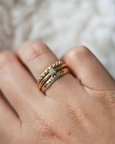Stacking Ring Guide – Lacee Alexandra Jewelry Three Stone Diamond Ring, Diamond Stacking Rings, Stacked Wedding Rings, Wedding Rings Simple, Diamond Promise Rings, Gold Diamond Rings, Alternative Engagement Rings, Solid Gold, Rings For Men