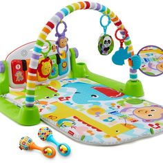 Includes Deluxe Kick & Play Piano Gym and Rattle 'n Rock Maracas! 4 ways to play as baby grows: Lay & Play, Tummy Time, Sit & Play, and Take-Along Learning content changes with baby's age & stage with Smart Stages technology Detachable keyboard with 5 light-up keys, 5 repositionable activity toys for the gym & 2 rattle maracas Machine-washable, padded play mat features loops to attach the activity toys Fisher Price, Baby Baby, Baby Gym, Best Baby Play Mat, Crib Toys, Einstein, Newborn Toys, Newborns, Baby Kicking