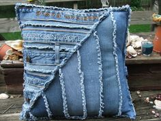 Made using repurposed denim jeans by TatteredSisters Jean Crafts, Denim Crafts, Diy Jeans, Jeans Denim, Sewing Pillows, Diy Pillows, Jean Diy, Denim Art, Denim Ideas