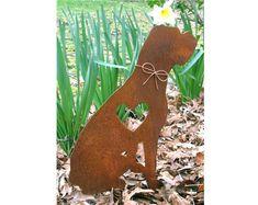 Boxer Dog Metal Garden Stake  Metal Yard Art  by georgiametalart, $39.99