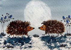 ORIGINAL  ACEO WATERCOLOUR PAINTING: HEDGEHOGS TOGETHER IN THE MOONLIGHT