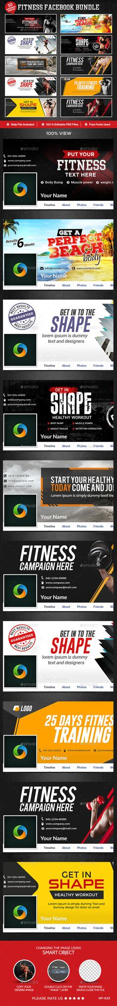 Fitness Facebook Covers  10 Designs — Photoshop PSD #studio #web banner • Available here → https://graphicriver.net/item/fitness-facebook-covers-10-designs/12801133?ref=pxcr