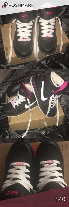 Nike - WMNS AIR PRESTIGE 2 HIGH 💕size 6.5 💕black/white - vivid pink 💕white laces 💕size runs larger, I wear size 8 & they fit me perfectly  💕comes with box, with no lid 💕excellent condition Nike Shoes Sneakers