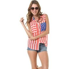 SALE✨Hurley Wilson American Flag Shirt Blouse S Hurley American flag tank. Sleeveless. Collared. Button front. All over red and white stripes, blue and white stars chest pocket. Relaxed fit. Curved hem. 100% cotton. Hurley Tops Blouses