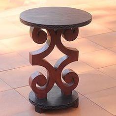 Handmade Sese Wood 'African Ram's Horn' End Table (Ghana)