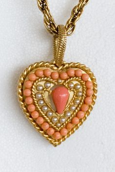 gold pearl and coral pendant