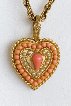 coral pendant heart
