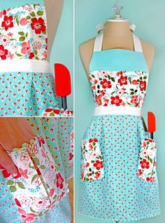Kitchen Confections in Moda's Vintage Modern: Pleated Apron Apron Pattern Free, Vintage Apron Pattern, Aprons Vintage, Vintage Sewing Patterns, Retro Apron Patterns, Vintage Stuff, Vintage Clothing, Vintage Outfits, Easy Sewing Projects