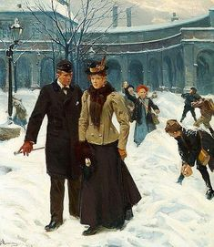 Erik Henningsen (1855-1930): A young couple in the snow in Christiansborg Ridebane (The Riding Ground Complex of Christiansborg Castle), 1900