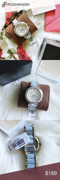 Michael Kors Parker Chronograph Watch Brand new. Comes with everything pictured. All protective covers still in place.                       39mm case; 20mm band width. Adjustable bracelet. Links can be removed. Trifold buckle with spring-lock closure. Water-resistant to 10 ATM (100 meters). MICHAEL Michael Kors Accessories Watches