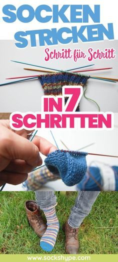 According to these instructions, you can knit socks in 7 steps. Free knitting instructions show step by step with pictures how to learn to knit socks. (Knitting socks, instructions, free of charge, kn Baby Knitting Patterns, Learn How To Knit, How To Start Knitting, Knitting For Beginners, Bag Crochet, Crochet Baby, Crochet Clothes, Free Crochet, Crafts