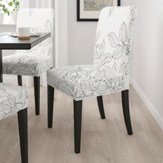 You sit comfortably thanks to the high back and seat with polyester wadding. The washable cover to HENRIKSDAL chair frame is easy to put on and take off. The chair legs are made of solid wood, which is a durable natural material. Kitchen Chairs, Dining Room Chairs, Side Chairs, Henriksdal Chair Cover, Black And White Chair, Black White, White Chair Covers, Wood Veneer, Dark Brown