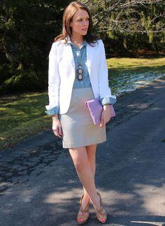 chambray shirt + white blazer + neutral skirt & heels (peep-toes) + statement necklace