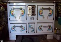 1930's Belgian enamel stove. Bought by Simply-Chateau (favorite eBay seller) and installed in the cuisine of her renovated French Chateau.
