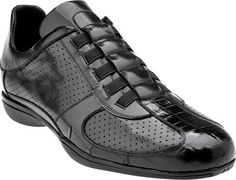 Belvedere Casto Crocodile   Calfskin Perforated Sneakers Black aab31c8d54f4