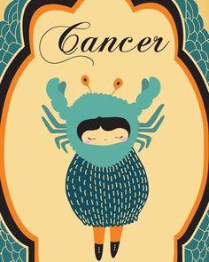 CANCER Zodiac Sign, Astrology Horoscope, Astrological Sign, Cancer Constellation, Cancer Print Art Illustration / Poster.