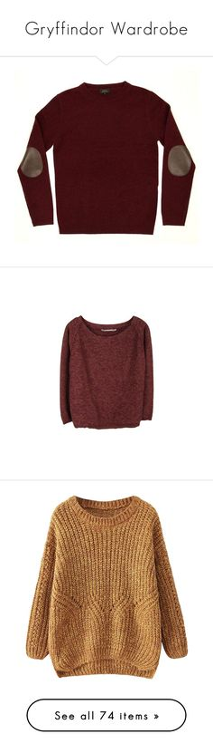 """""""Gryffindor Wardrobe"""" by fangirl-fashion-01 ❤ liked on Polyvore featuring tops, sweaters, shirts, jumpers, crew neck sweaters, crewneck shirts, crew neck top, red shirt, crew neck jumpers and short tops"""