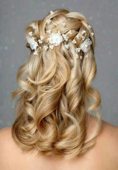 Waterfall braid with large soft curls and a decorative pin/clip - love for G