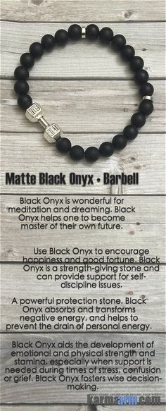 """MANTRA: I have a strong mind, body & spirit. - 8mm Matte Black Onyx Round Natural Gemstones - Tibetan Silver Barbell - """"LIVE LIFT"""" - Tibetan Silver Rondelles - Commercial Strength, Latex-Free Elastic"""