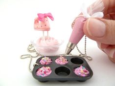 Oh my cuteness - teensy cupcake pan and decorating bag charms!!