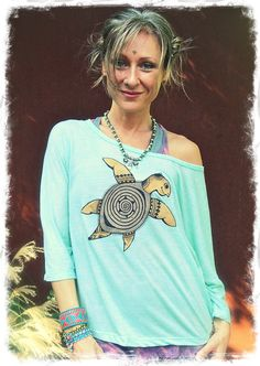 Sea TURTLE Tshirt Workout shirt baggy shirt Sea Foam blue loose shirt HIPPIE yoga clothes Gypsy boho top hand painted clothing seascape on Etsy, $60.54 CAD