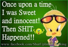 Once upon a time I was Sweet & innocent! Cute Quotes, Best Quotes, Funny Quotes, Funny Memes, Qoutes, Random Quotes, Tweety Bird Quotes, Cartoon Jokes, Cartoons