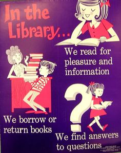 Retro Library Poster: In the Library...We read for pleasure and information. We borrow or return books. We find answers to questions. #library #libraries #marketing