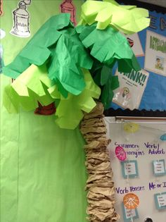 Easy palm trees from pool noodles and lunch bags. Great for a beach themed classroom