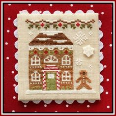 Gingerbread House Eight is the last cross stitch pattern in Country Cottage Needleworks Gingerbread Village. The cross stitch pattern is stitched with Classic Colorwork