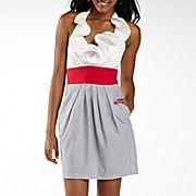 17.00 JCP B Smart Ruffle Neck Halter Dress with Pockets