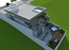 casa-sobrado-terreno-declive-estrutura-metálica-vidro-arquiteto-vinhedo Home Building Design, Home Design Plans, Building A House, 3 Storey House Design, Modern House Design, House Siding, Facade House, Houses On Slopes, Bungalow Haus Design