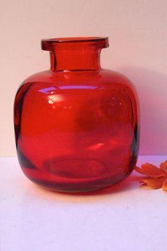 Wiesenthalhütte glas vase rubin rot