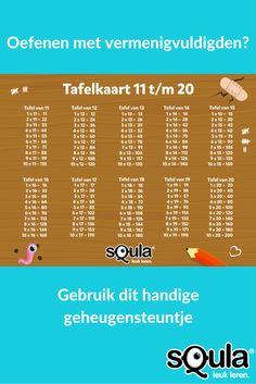 Handig voor als je keersommen oefent met de klas: een tafelkaart voor de tafels 11 t/m 10. Handig om uit te printen en op de tafeltjes van de leerlingen te leggen of op een zichtbare plek in de klas te hangen. Dan kunnen ze af en toe even spieken als het te moeilijk wordt. Dutch Language, School Tool, Teaching Tips, Albert Einstein, Mathematics, Spelling, About Me Blog, Classroom, Learning