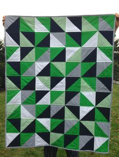 Hey, I found this really awesome Etsy listing at https://www.etsy.com/listing/214744279/navy-green-triangle-quilt