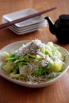 塩茹でキャベツのたっぷりしらすのせ。 by 栁川かおり | レシピサイト ... Japanese Dishes, Japanese Food, Japanese Meals, Easy Cooking, Healthy Cooking, Healthy Food, Vegetable Dishes, Vegetable Salad, Vegetable Recipes