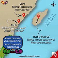 Nombres de las ciudades en la Riviera Maya y su significado en lengua maya [Xcaret - Xpuha - Cozumel] 🌞 Names of the cities in the Riviera Maya and its meaning in maya language [Xcaret - Xpuha - Cozumel] ☀💦🌴👙🐠🇲🇽 #infografía #infographic #ciudades #cities #nombres #names #maya #language #paraíso #paradise #caribe #caribbean #cultura #culture #informacion #information #interesante #interesting #mapa #map #quintamagazine #xcaret #xpuha #cozumel #rivieramaya #mexico
