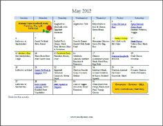 Free printable dinner menu for May with recipe links