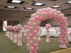 White And Pink Balloon Decor For Main Dance Floor Quinceanera