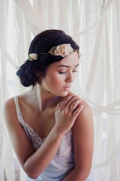 Darcey- woodsy flower halo in peachy- beige