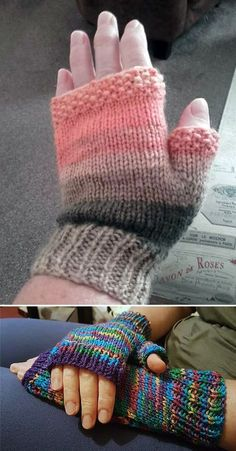 Free Knitting Pattern for Flat Knit Easy Fingerless Mitts - with Thumbs - Knit f. Free Knitting Pattern for Flat Knit Easy Fingerless Mitts - with thumbs - knit flat and hemmed. Knitting Blogs, Easy Knitting Patterns, Loom Knitting, Crochet Patterns, Knitting Tutorials, Stitch Patterns, Hat Patterns, Easy Knitting Ideas, Hand Knitting