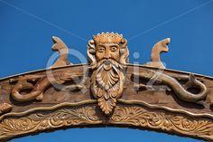 Qdiz Stock Photos   Neptun or Poseidon face head signboard,  #art #artistic #artwork #background #blue #closeup #face #god #head #neptune #poseidon #signboard #wood #wooden