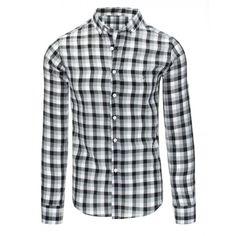 64a8e17bd18 Černo bíla pánská bavlnená košile s kostkovaným vzorem a dlouhým rukávem -  manozo.cz