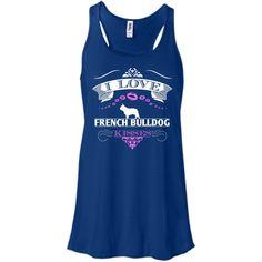 I LOVE FRENCH BULLDOG KISSES - FRONT DESIGN - Bella+Canvas Flowy Racerback Tank