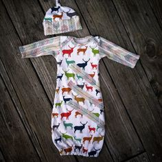 Antler arrow organic baby boy gown elk antlers by Rufflesnbuttons
