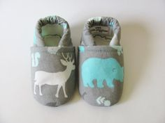 Deer and Bear Baby Boy Shoes by TheWeeLittlePiggies on Etsy