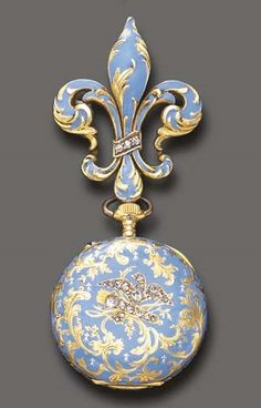 AN ANTIQUE GOLD AND BLUE ENAMEL FOB WATCH, BY LONGINES. With nickel-finished jewelled lever movement, the white circular dial with blue Arabic numerals and gold hands, subsidiary seconds, within an ornately decorated blue enamel case, enhanced by rose-cut diamonds, suspended by a fleur de lys pin of similar design, mounted in 18k gold, circa 1890, with Swiss assay mark. Movement signed Longines; cuvette signed Longines, Grand Prix, Paris 1889; inside case numbered.